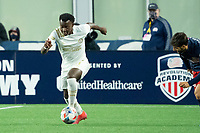 FOXBOROUGH, MA - MAY 1: George Bello #21 of Atlanta United FC during a game between Atlanta United FC and New England Revolution at Gillette Stadium on May 1, 2021 in Foxborough, Massachusetts.