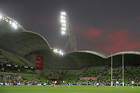 19th March 2021; Melbourne Rectangular Stadium, Melbourne, Victoria, Australia; Australian Super Rugby, Melbourne Rebels versus New South Wales Waratahs; Play gets underway after a prolonged day due to delays with Covid-19 last season