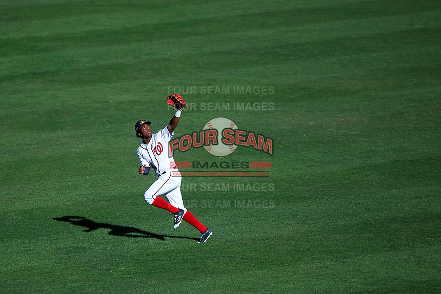 Mesa Solar Sox center fielder Victor Robles (14), of the Washington Nationals organization, pursues a fly ball during an Arizona Fall League game against the Peoria Javelinas on October 25, 2017 at Sloan Park in Mesa, Arizona. The Solar Sox defeated the Javelinas 6-3. (Zachary Lucy/Four Seam Images)