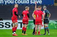 Rhys Carre of Saracens is shown a red card by Referee Alexandre Ruiz during the Heineken Champions Cup Round 5 match between the Ospreys and Saracens at the Liberty Stadium in Swansea, Wales, UK. Saturday January 11 2020.