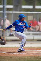New York Mets Jhoan Urena (13) bats during a minor league Spring Training game against the Miami Marlins on March 26, 2017 at the Roger Dean Stadium Complex in Jupiter, Florida.  (Mike Janes/Four Seam Images)