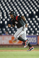 Richmond Flying Squirrels pinch runner Carlos Moncrief (21) running the bases during a game against the Akron RubberDucks on July 26, 2016 at Canal Park in Akron, Ohio .  Richmond defeated Akron 10-4.  (Mike Janes/Four Seam Images)