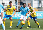 Forfar v St Johnstone….27.07.19      Station Park     Betfred Cup       <br />Dale Hilson gets between Jason Kerr and Ali McCann<br />Picture by Graeme Hart. <br />Copyright Perthshire Picture Agency<br />Tel: 01738 623350  Mobile: 07990 594431