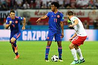 KAZAN - RUSIA, 24-06-2018: Juan CUADRADO jugador de Colombia en acción durante partido de la primera fase, Grupo H, entre Polonia y Colombia por la Copa Mundial de la FIFA Rusia 2018 jugado en el estadio Kazan Arena en Kazán, Rusia. / Juan CUADRADO player of Colombia in action during the match between Polonia and Colombia of the first phase, Group H, for the FIFA World Cup Russia 2018 played at Kazan Arena stadium in Kazan, Russia. Photo: VizzorImage / Julian Medina / Cont