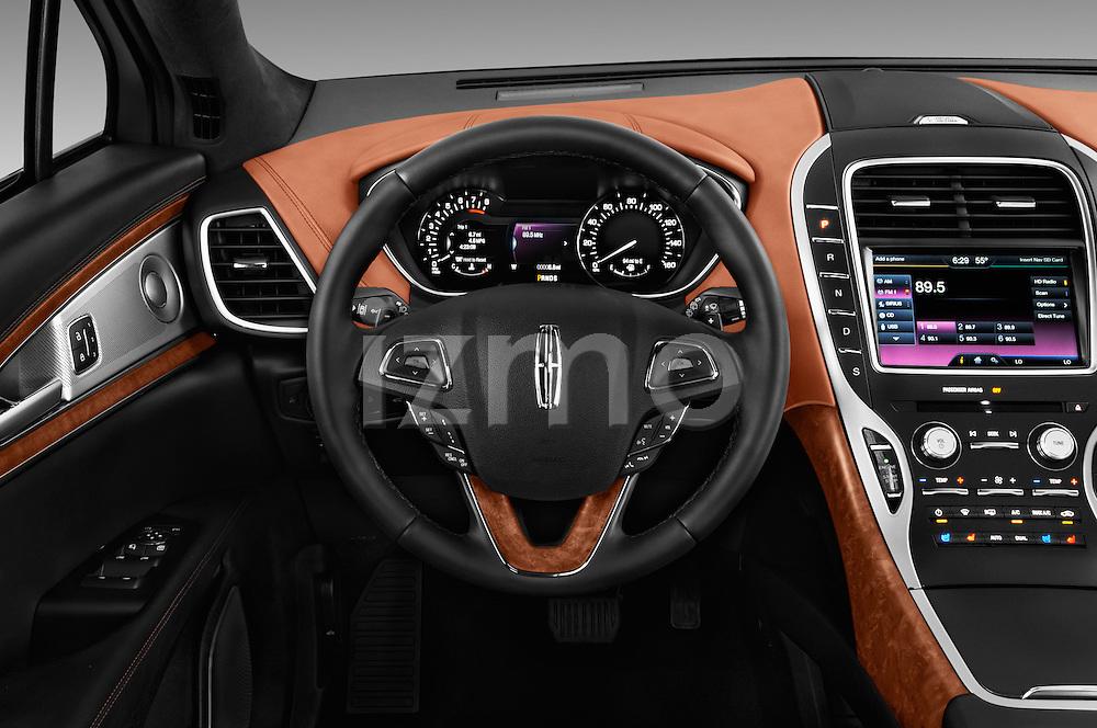 Car pictures of steering wheel view of a 2018 Lincoln MKX Black Label 5 Door Suv Steering Wheel