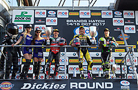 Winner Josh Brookes of Anvil Hire Tag Racing on the podium with second place Jason O'Halloran of Honda Racing (Left) and Third place James Ellison of McAMS Yamaha (Right) with their trophy's after the Final of the MCE British Superbikes in Association with Pirelli round 12 2017 - BRANDS HATCH (GP) at Brands Hatch, Longfield, England on 15 October 2017. Photo by Alan  Stanford / PRiME Media Images.