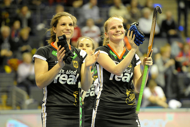 Berlin, Germany, February 09: During the FIH Indoor Hockey World Cup Pool B group match between Germany (black) and Australia (yellow) on February 9, 2018 at Max-Schmeling-Halle in Berlin, Germany. Final score 2-2. (Photo by Dirk Markgraf / www.265-images.com) *** Local caption *** Luisa STEINDOR #6 of Germany, Friderike SCHLENKER #13 of Germany