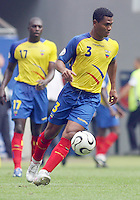 Ecuador's Ivan Hurtado (3) moves the ball downfield. Ecuador defeated Costa Rica 3-0 in their FIFA World Cup Group A match at FIFA World Cup Stadium, Hamburg, Germany, June 15, 2006.