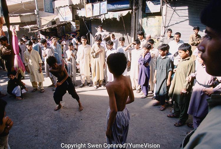 A Shiites procession in Peshawar, Pakistan