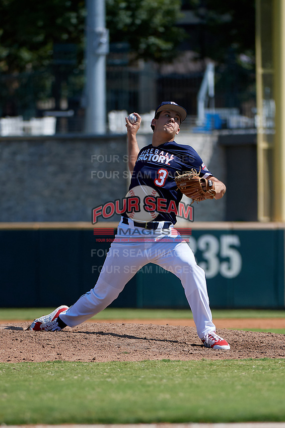 Pitcher Karson Ligon (3) during the Baseball Factory All-Star Classic at Dr. Pepper Ballpark on October 4, 2020 in Frisco, Texas.  Pitcher Karson Ligon (3), a resident of Sarasota, Florida, attends Riverview High School.  (Mike Augustin/Four Seam Images)