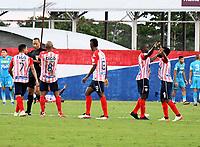 MONTERIA - COLOMBIA -21-02-205: Jugadores de Atletico Junior celebran el gol anotado al Jaguares de Cordoba F.C. durante partido entre Jaguares de Cordoba F. C. y Atletico Junior de la fecha 5 por la Liga BetPlay DIMAYOR I 2021, en el estadio Jaraguay de Monteria de la ciudad de Monteria. / Players of Atletico Junior celebrate a scored goal to Jaguares de Cordoba F.C. during a match between Jaguares de Cordoba F.C. and Atletico Junior, of the 5th date for the Betplay DIMAYOR I 2021 League at Jaraguay de Monteria Stadium in Monteria city. / Photo: VizzorImage / Andres Lopez / Cont.