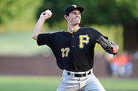Pitcher Billy Roth (27) of the Bristol Pirates delivers a pitch in a game against the Greeneville Astros on Friday, July 25, 2014, at Pioneer Park in Greeneville, Tennessee. Greeneville won, 9-4. (Tom Priddy/Four Seam Images)