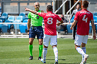 SAN JOSE, CA - APRIL 24: Bryan Acosta #8 of FC Dallas talks to the referee during a game between FC Dallas and San Jose Earthquakes at PayPal Park on April 24, 2021 in San Jose, California.