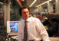 Oct. 8, 2009; Las Vegas, NV, USA; UFL television analyst Doug Flutie in the broadcast box during the game between the California Redwoods against the Las Vegas Locomotives in the inaugural United Football League game at Sam Boyd Stadium. Las Vegas defeated California 30-17. Mandatory Credit: Mark J. Rebilas-