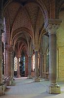 Saint-Denis Abbey (choir,1144)--South ambulatory. Gothic elements, St. Denis, France.