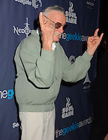 Stan Lee<br /> The first annual Geekie Awards at The Avalon Hollywood in Hollywood, CA., USA.  <br /> August 18th, 2013<br /> half length green grey gray jacket tinted glasses sunglasses shades hands arms finger devil sign gesture profile moustache mustache facial hair <br /> CAP/ADM/BT<br /> ©Birdie Thompson/AdMedia/Capital Pictures
