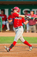 Michael Snyder (29) of the Orem Owlz follows through on his swing against the Ogden Raptors at Lindquist Field on July 29, 2012 in Ogden, Utah.  The Owlz defeated the Raptors 6-4.   (Brian Westerholt/Four Seam Images)