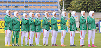 Monfalcone, Italy, April 26, 2016.<br /> IRAN's players during the national anthem ahead of USA v Iran football match at Gradisca Tournament of Nations (women's tournament). Monfalcone's stadium.<br /> © ph Simone Ferraro / Isiphotos