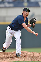 Relief pitcher Max Kuhns (16) of the Columbia Fireflies delivers a pitch in a game against the Lexington Legends on Sunday, April 23, 2017, at Spirit Communications Park in Columbia, South Carolina. Lexington won, 4-2. (Tom Priddy/Four Seam Images)