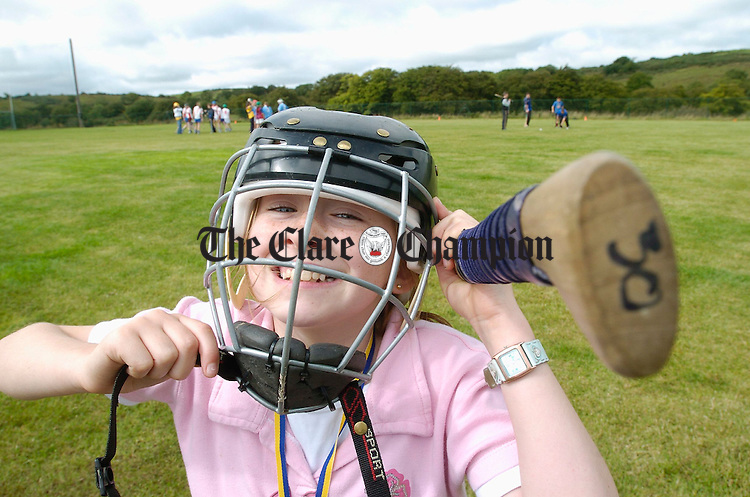 Orla Killeen gets ready for a camogie game  at the official opening of the Inch School and Community field. Photograph by John Kelly.
