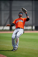 Miami Marlins Jerar Encarnacion (98) during a Minor League Spring Training game against the Washington Nationals on March 28, 2018 at FITTEAM Ballpark of the Palm Beaches in West Palm Beach, Florida.  (Mike Janes/Four Seam Images)
