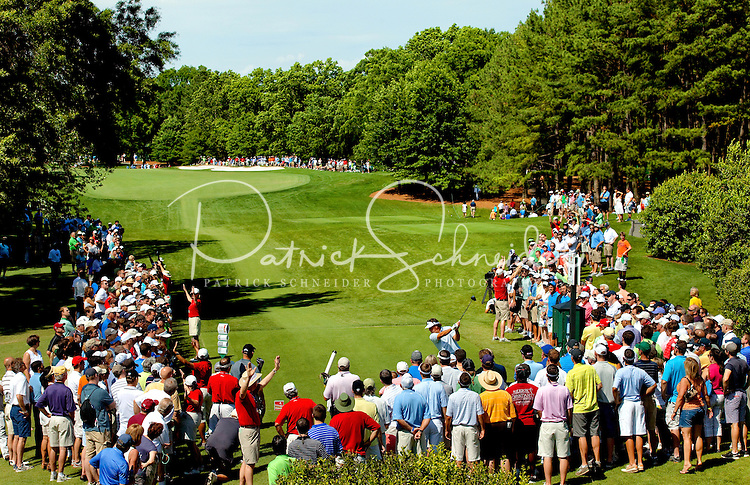 Sports event photography of the 2012 Wells Fargo Championship PGA tour golf tournament held each May at the Quail Hollow Club in Charlotte, NC. Since its inception in 2003 (then called the Wachovia Championship), the tournament has attracted many of the tour's top players.