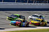#18: Kyle Busch, Joe Gibbs Racing, Toyota Camry M&M's, #22: Joey Logano, Team Penske, Ford Fusion Shell Pennzoil, and #2: Brad Keselowski, Team Penske, Ford Fusion Miller Lite
