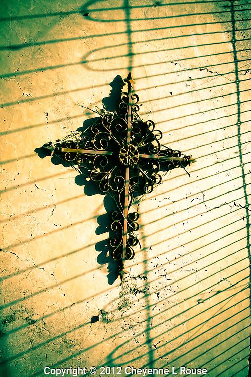 Shadowy Cross - Tubac Cemetery - Arizona.
