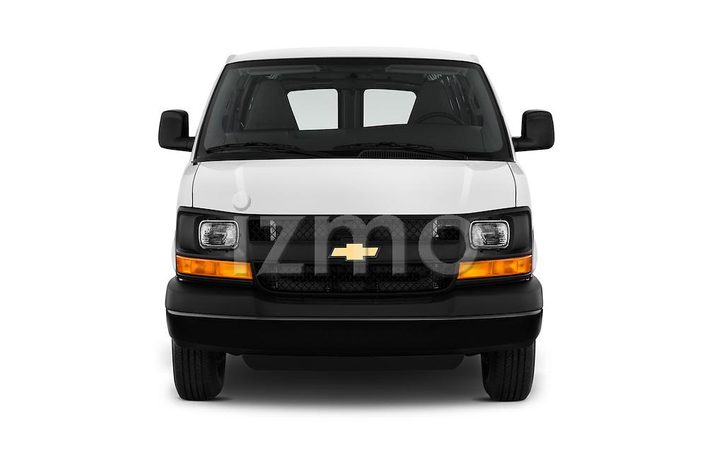 Car photography straight front view of a 2016 Chevrolet Express-Cargo 2500-Work-Van-HD 4 Door Cargo Van Front View