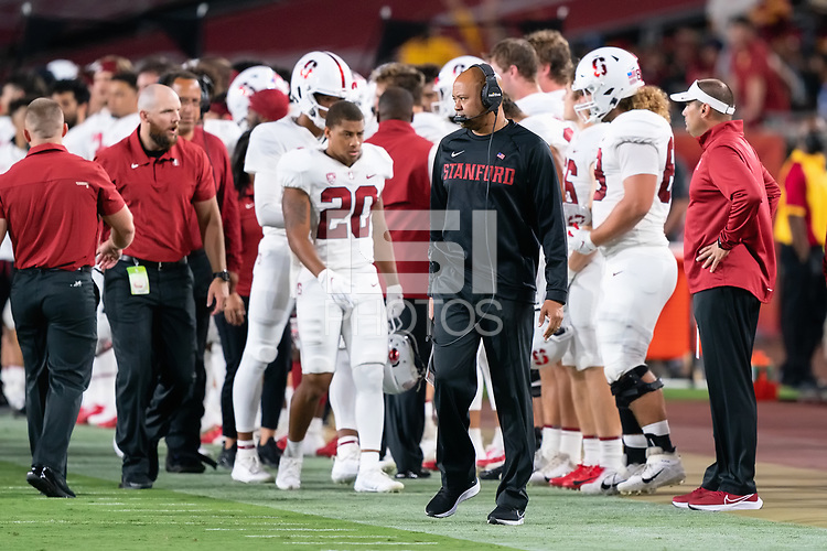LOS ANGELES, CA - SEPTEMBER 11: David Shaw during a game between University of Southern California and Stanford Football at Los Angeles Memorial Coliseum on September 11, 2021 in Los Angeles, California.
