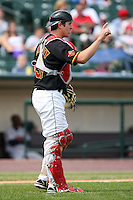August 12 2008:  Catcher Jeff Christy of the Rochester Red Wings, Class-AAA affiliate of the Minnesota Twins, during a game at Frontier Field in Rochester, NY.  Photo by:  Mike Janes/Four Seam Images