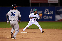 Beloit Snappers shortstop Marcos Brito (6) prepares to turn a double play in front of Miguel Jerez (36) during a Midwest League game against the Lake County Captains at Pohlman Field on May 6, 2019 in Beloit, Wisconsin. Lake County defeated Beloit 9-1. (Zachary Lucy/Four Seam Images)