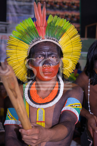 Altamira, Brazil. Encontro Xingu protest meeting about the proposed Belo Monte hydroeletric dam and other dams on the Xingu river and its tributaries. Kayapo from Gorotire feeling the tension, ready to fight to the end to save the Xingu.