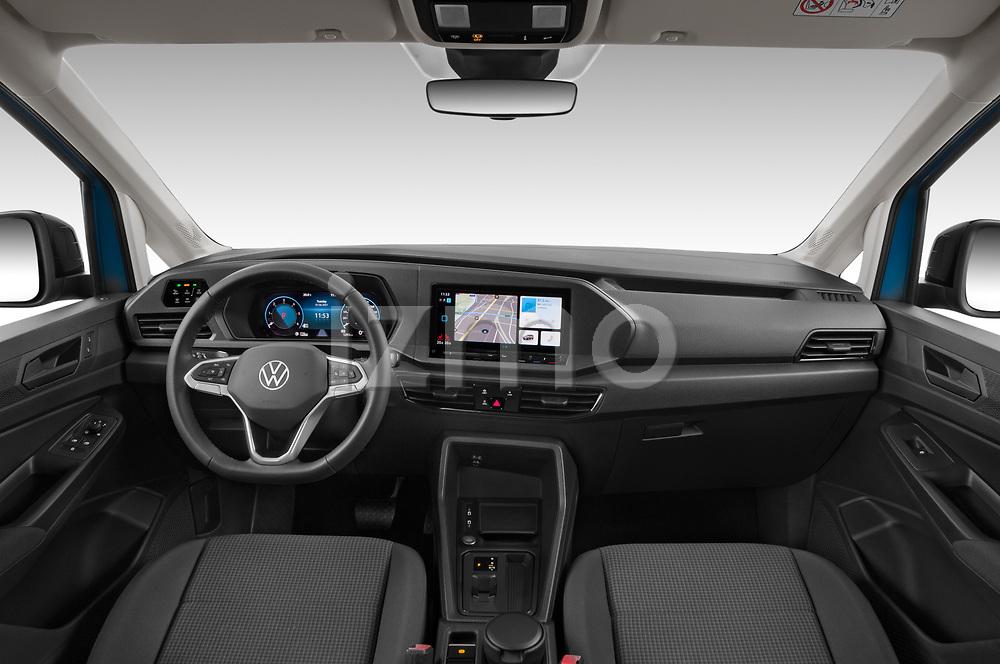 Stock photo of straight dashboard view of 2021 Volkswagen Caddy California-Maxi 5 Door Camper Van Dashboard