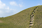 Figsbury Ring, Firsdown, Wiltshire UK. An Iron Age Hill Fort or a Neolthic Henge monument. Steps in the ancient monument caused by excessive amount of people climbing over and around it.