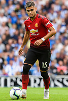Andreas Pereira of Manchester United (15)  during the Premier League match between Brighton and Hove Albion and Manchester United at the American Express Community Stadium, Brighton and Hove, England on 19 August 2018. Photo by Edward Thomas / PRiME Media Images.