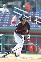 Harold Riggins #6 of the Bakersfield Blaze bats against the Inland Empire 66ers at San Manuel Stadium on August 21, 2014 in San Bernardino, California. Inland Empire defeated Bakersfield, 3-1. (Larry Goren/Four Seam Images)