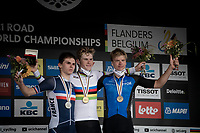 Per Strand Hagenes (NOR) is the newest Junior Men World Champion, with Romain Grégoire (FRA) 2nd and Madis Mihkels (EST) 3rd<br />  <br /> World Championships Junior Men - Road Race (WC)<br /> from Leuven to Leuven (121.4km)<br /> <br /> UCI Road World Championships - Flanders Belgium 2021<br /> <br /> ©kramon