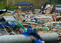 The remote coastal area close to Ishihama and north of Minamisanriku, Miyagi Japan. Little has been cleared from the coastal ares away from the cities. One of the biggest earthquakes ever recorded struck off the coast of Japan on 11 Mar 2011 had killed thousands of people and thosands are still missing. .01 Jun 2011..