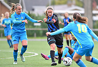 Union's Lisa Despret pictured with Brugge's Ellen Martens during a female soccer game between the women teams of Club Brugge YLA Dames and Union Saint-Ghislain Tertre-Hautrage Ladies on the 1/16 th qualifying round for the Belgian Womens Cup 2020  2021 , on saturday 26 th of September 2020  in Brugge , Belgium . PHOTO SPORTPIX.BE | SPP | DAVID CATRY