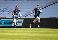 17th April 2021; AJ Bell Stadium, Salford, Lancashire, England; English Premiership Rugby, Sale Sharks versus Gloucester;  AJ MacGinty of Sale Sharks on as an early substitute for  Rob du Preez of Sale Sharks  breaks clear with  Sam James in support