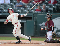 Arkansas designated hitter Charlie Welch connects Wednesday, April 7, 2021, for a solo home run during the first inning of the Razorbacks' 10-3 win over UALR at Baum-Walker Stadium in Fayetteville. Visit nwaonline.com/210408Daily/ for today's photo gallery. <br /> (NWA Democrat-Gazette/Andy Shupe)
