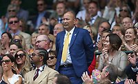 England Rugby Head Coach, Eddie Jones is introduced to the Centre Court crowd<br /> <br /> Photographer Rob Newell/CameraSport<br /> <br /> Wimbledon Lawn Tennis Championships - Day 6 - Saturday 6th July 2019 -  All England Lawn Tennis and Croquet Club - Wimbledon - London - England<br /> <br /> World Copyright © 2019 CameraSport. All rights reserved. 43 Linden Ave. Countesthorpe. Leicester. England. LE8 5PG - Tel: +44 (0) 116 277 4147 - admin@camerasport.com - www.camerasport.com