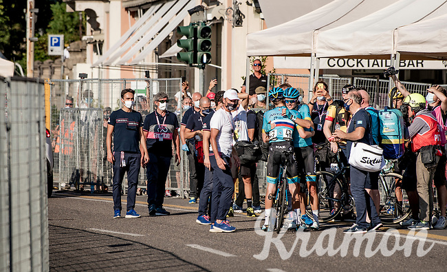 Jakob Fuglsang (DEN/Astana) wins his 2nd Monument Classic after Liège in 2019 and is congratulated by teammate (& 3rd finisher) Aleksandr Vlasov (RUS/Astana) behind the finish line<br /> <br /> 114th Il Lombardia 2020 (1.UWT)<br /> 1 day race from Bergamo to Como (ITA/231km) <br /> <br /> ©kramon