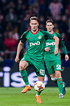 Anton Miranchuk of FC Lokomotiv Moscow in action during the UEFA Europa League 2017-18 Round of 16 (1st leg) match between Atletico de Madrid and FC Lokomotiv Moscow at Wanda Metropolitano  on March 08 2018 in Madrid, Spain. Photo by Diego Souto / Power Sport Images