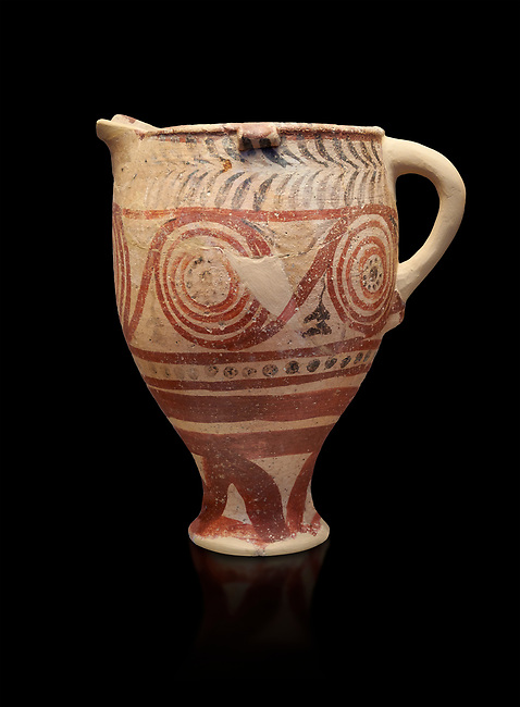 Cycladic spouted cup with floral and net pattern.   Cycladic (1650-1450 BC) , Phylakopi III, Melos. National Archaeological Museum Athens. Cat no 5755.  Black background.<br /> <br /> <br /> Ceramic shapes and painted style are heavily influenced by Minoan styles during this period. Dark floral and spiral patterns are painted over a lighted backgound with wavy bands.
