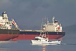 Astoria, fishing boat, cargo ships, bulk carrier, Columbia River, Oregon State, Oregon Coast,