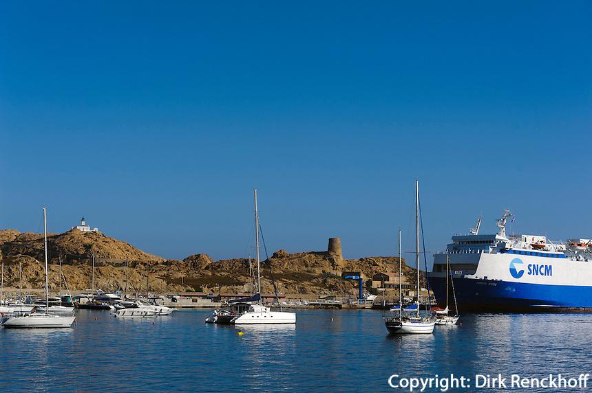 Halbinsel mit Genuesenturm und Fähhafen L'Ile Rousse, Korsika, Frankreich