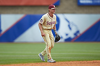Florida State Seminoles shortstop Taylor Walls (10) on defense against the North Carolina Tar Heels in the 2017 ACC Baseball Championship Game at Louisville Slugger Field on May 28, 2017 in Louisville, Kentucky. The Seminoles defeated the Tar Heels 7-3. (Brian Westerholt/Four Seam Images)