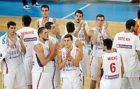 "Serbia`s national basketball team players after European basketball championship ""Eurobasket 2013"" quarter-final basketball game between Serbia and Spain in Stozice Arena in Ljubljana, Slovenia, on September 18. 2013. (credit: Pedja Milosavljevic  / thepedja@gmail.com / +381641260959)"